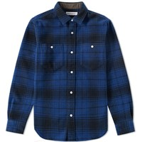 Head Porter Plus Nel Check Shirt Blue