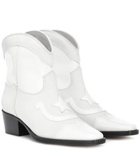 Ganni Low Texas Leather Cowboy Boots White