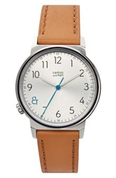 Canton And Hall Men's Davis Slim Leather Strap Watch 40Mm White Tan