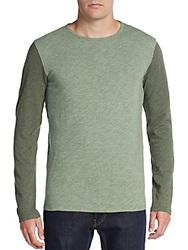 Life After Denim Contrast Sleeve Heathered Cotton Tee Green