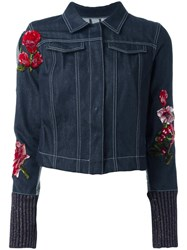 Aviu Floral Embroidered Denim Jacket Blue
