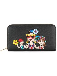 Dolce And Gabbana Dauphine Dg Family Patch Wallet Black