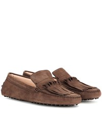 Tod's Gommini Frangia Origami Suede Loafers Brown