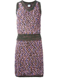 Chanel Vintage Knit Skirt And Vest Set Pink And Purple