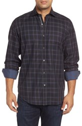 Bugatchi Men's Classic Fit Large Check Twill Sport Shirt Graphite