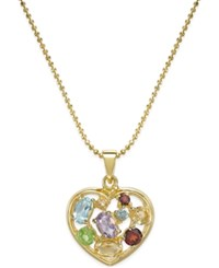 Victoria Townsend Multi Gem Mosaic Heart Pendant Necklace 2 1 3 Ct. T.W. In 18K Gold Plated Sterling Silver No Color