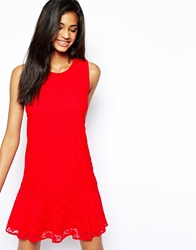 John Zack Lace Dress With Drop Hem Red