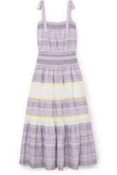 Tory Burch Smocked Embroidered Striped Silk Dress Lilac