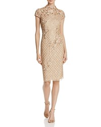 Adrianna Papell Embellished Lace Dress Champagne