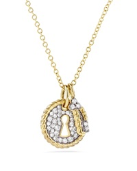David Yurman Cable Collectibles Lock And Key Charm Necklace With Diamonds In Gold Gold White