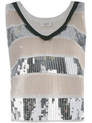 Aviu Sequin Embellished Tank Top Women Cotton Polyamide Polyester 40