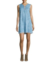 7 For All Mankind Sleeveless Lace Up Denim Dress Size Xs Light Blue Chambray