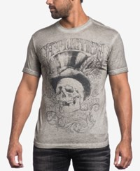 Affliction Men's Parlor Graphic Print T Shirt White Oil Stain