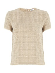 Marella Elam Short Sleeved Boucle Top With Pockets Beige