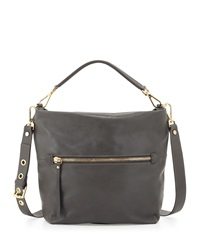 Neiman Marcus Sauvage Zip Top Hobo Bag Cenere Gray