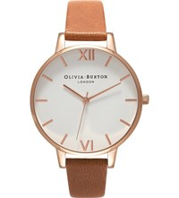 Olivia Burton Ob16bdw19 Rose Gold Plated Stainless Steel And Leather Watch