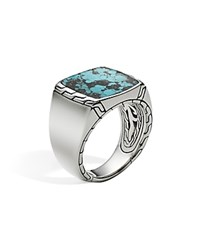 John Hardy Men's Sterling Silver Classic Chain Signet Ring With Turquoise Black Turquoise