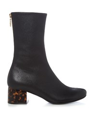 Stella Mccartney Tortoiseshell Block Heel Faux Leather Boots Black