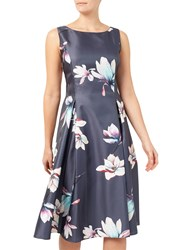 Jacques Vert Floral Print Structured Prom Dress Grey Multi
