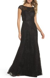 Hayley Paige Occasions Women's Embellished Bateau Neck Gown Black