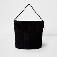 River Island Black Suede Studded Underarm Slouch Bag