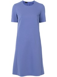 Les Copains Short Sleeve Flared Dress Blue