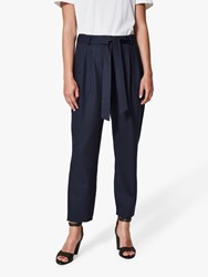 Selected Femme Bio Wool Blend Cropped Trousers Dark Sapphire