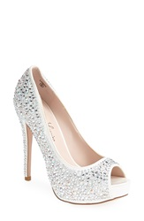 Lauren Lorraine 'Candy' Crystal Peep Toe Pump Women White