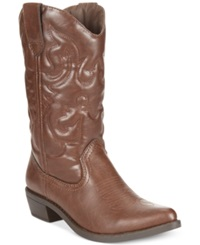 Rampage Valiant Cowboy Boots Women's Shoes Cognac