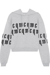 Mcq By Alexander Mcqueen Appliqued Cropped Cotton Jersey Hooded Sweatshirt Gray