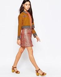 Sister Jane Brigitte Button Skirt Rust Brown