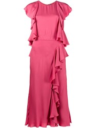 Alexander Mcqueen Ruffled Midi Dress Pink And Purple