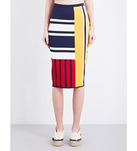 Tommy Hilfiger Gigi Hadid Patchwork Stretch Jersey Midi Skirt Peacoat Multi