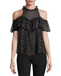 Rebecca Taylor Metallic Clip Sleeveless Ruffle Top Black