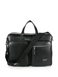 Diesel Leather Briefcase Black