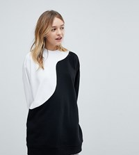 Monki Oversized Sweatshirt Black And White