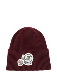 Moncler Wool And Cashmere Beanie W Double Patch Bordeaux