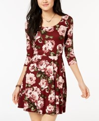 Amy Byer Bcx Juniors' Printed Crisscross Back Fit And Flare Dress Red Floral