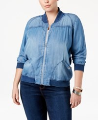 American Rag Trendy Plus Size Chambray Bomber Jacket Only At Macy's Vista Wash