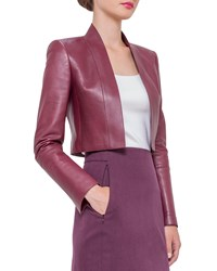 Akris Cropped Napa Leather Jacket Dahlia