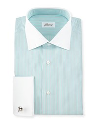 Brioni Contrast Collar Striped French Cuff Dress Shirt Green White Assorted