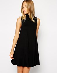 Asos Sleeveless Swing Dress With Polo Neck Black