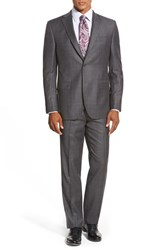 Men's Big And Tall David Donahue 'Ryan' Classic Fit Plaid Wool Suit Charcoal
