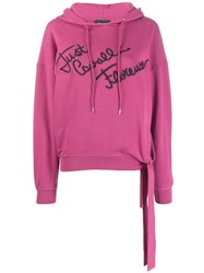 Just Cavalli Embroidered Logo Hoodie Pink