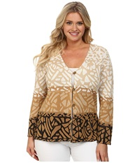 Pendleton Plus Size Park Blocks Cardigan Black Spring Khaki Ivory Women's Sweater Multi