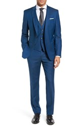 Boss Men's Hamsen Glen Trim Fit Three Piece Solid Wool Suit