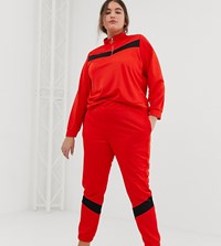 Asos Design Curve Tricot Tracksuit With Panelled Sweat Skinny Jogger Multi