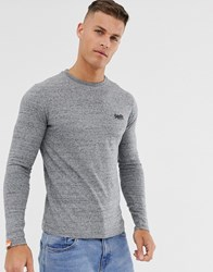 Superdry Orange Long Sleeve Top With Embroidery In Grey