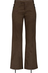 Marni Cropped Cotton Twill Bootcut Pants Brown