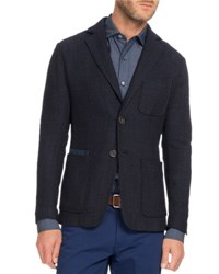 Berluti Textured Knit Two Button Blazer Navy Blue